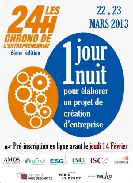 J-2 !! 24 heures Chrono de l'Entrepreneuriat / Pré-inscriptions avant jeudi 14 février
