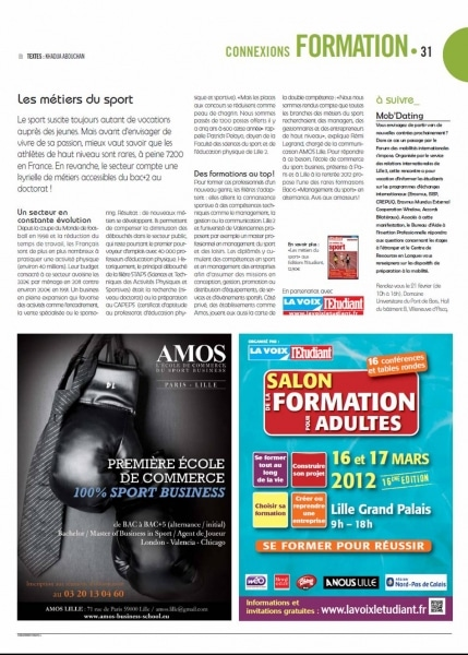 Bel article pour AMOS dans le A NOUS LILLE