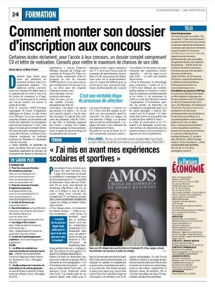 «Comment monter son dossier d'inscription.. » - Article Le Parisien Economie sur les conditions d'admissions d'AMOS