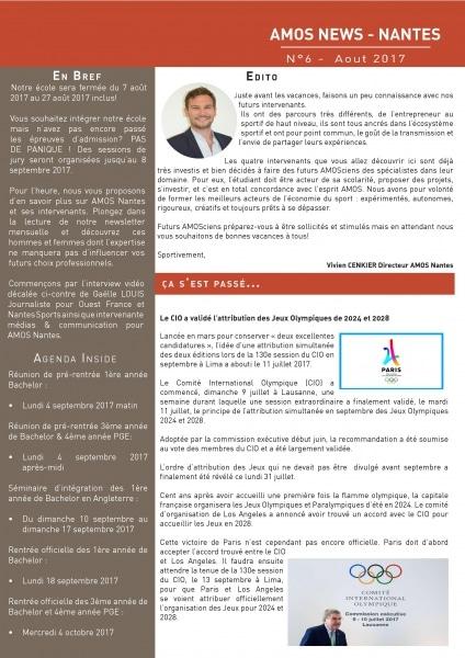 AMOS Nantes : La newsletter d'Août est arrivée !