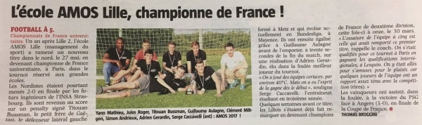 AMOS Lille, Championne de France Universitaire de Football