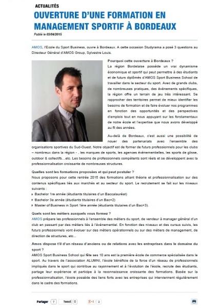 [Revue de presse] Implantation d'AMOS à Bordeaux