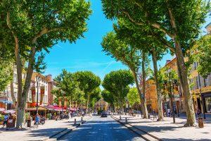 street Cours Mirabeau in Aix-en-Provence, France